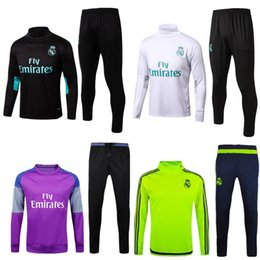 Wholesale Men Waterproof Pant - 2016 soccer tracksuits 2017 18 best quality survetement football Real Madrid training suit sweat top chandal soccer jogging football pant