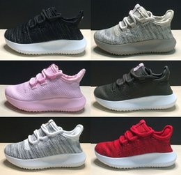 Wholesale Girl Shoes Canvas - (With Shoebox) 2017 New Tubular Shadow Knit Kids Running Shoes 350 Ultra boost For Boys Girls Trainers Sneakers