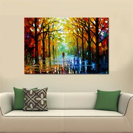 Wholesale Huge Abstract Wall Paintings - 1 Pcs Frameless Huge Wall Art Oil Painting On Canvas Forest Road Wall Decor Home Decoration