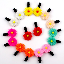 Wholesale Sun Flower Hair Clip - Cute Children Hair Clip 4cm Lovely Small Sun Flower Hairpin Baby Girls BB Folder Toddlers Ornaments Accessories Wholesale Free Shipping