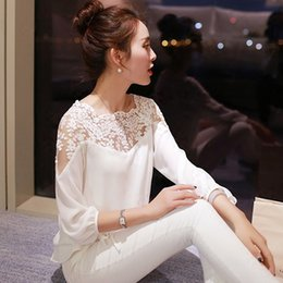 cropped top lace sleeve Canada - Chiffon Shirt 2016 Autumn Newest Sweet Hollow Shirt Three Quarter Sleeve Stitching Lace Blouse Female Crop Top Sexy Ropa Women