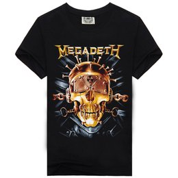Wholesale Bands Shirts - 2017 Rock Music Megadeth Band Style Fashion T-shirt for Men & Women O-neck T shirt 100% Cotton Hip Hop Tees