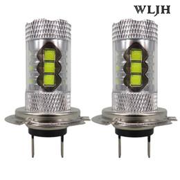Wholesale Bmw Led Projector - WLJH 80W 24v 12v 1200 Lumen H7 Led Bulb with Projector Len Driving Fog Light DRL Daytime Running Lights Xenon White
