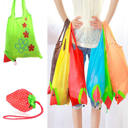 Wholesale Nylon Foldable Tote Bag - 2017 New Nylon Foldable Reusable Shopping Bags Strawberry Tote Eco Storage Handbag