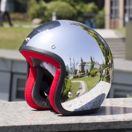 Wholesale Motorcycle Open Face Dot Helmet - Mirror Silver Chrome Vespa Open Face Motorcycle Motorbike Helmet Harley Retro Moto Helmets Casque Casco Capacete Motoqueiro DOT