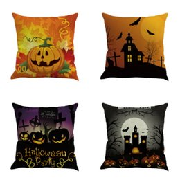 Wholesale Happy Hotels - Happy Halloween Pillow Case Home Decor Square Cushion Cover Sofa Decorative Decoration Pillowcase Throw Ornament Gift Bed Car Room