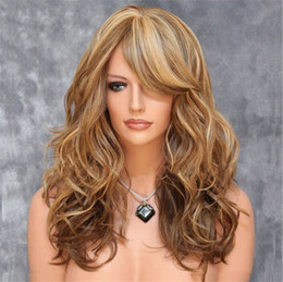 Wholesale Wholesale Deep Wave Wig - Long Blond Curly Synthetic Wigs for Women Elegant & Fashion City Costume Wigs Two tone Hair Burgundy Brown Two Toned Braid bea224