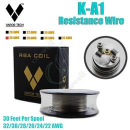 Wholesale Wire 24 Gauge - Top quality VAPOR TECH K A1 Resistance Wire Nichrome 30 Feet 22 24 32 awg Gauge vape mods RDA ecigarette atomizer RBA Vapor DIY pre cois