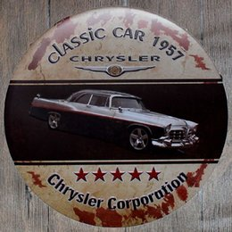 Wholesale Car Garage Decorations - Chrysler Corporation Classic Car Round Retro Embossed Tin Sign Poster Wall Bar Restaurant Garage Pub Coffee Home Decor Christmas Gift