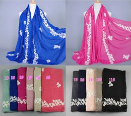 Wholesale muffler men - Wholesale-NEW design women's fashion embroider flower cotton popular long scarf wrap head Muffler hijab muslim scarves shawls 10pcs lot