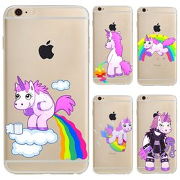 Wholesale Tpu Cartoon Case Cover - Unicorn Soft TPU Transparent Clear Phone Case for Iphone X 6 6s 7 8 plus Cartoon Colored Drawing Back Cover Shells