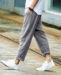 Wholesale Linen Drawstring Pants - Wholesale-men trousers loose linen casual pants overalls male straight slim fit casual Ankle Length pants popular summer men's trousers