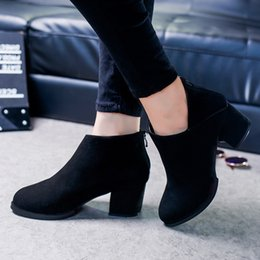 Wholesale Vintage Women Winter Snow Boots - Wholesale-Thick Heel Leather Boots Female Side Zipper Shoes Autumn and Winter Women Shoes Vintage Fashion Ankle Boots Women Boots