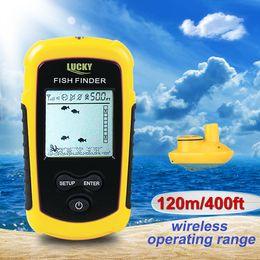 Wholesale Sonar Fish Detector - 8pcs lot Wholesale Wireless portable Fish Finder Fishing sonar sensor sound detector fish Alarm with colorful display easy adjustment