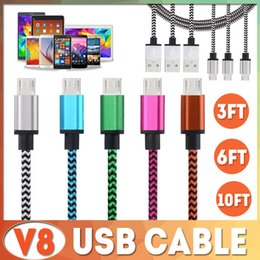 Wholesale nylon charger - 1M 2M 3M TYPE C Micro USB Cable Nylon Colorful Braided V8 Data Sync High Speed Charger Cord 3FT 1M 2M 6FT 3M 10FT For Samsung S8 S7 edge