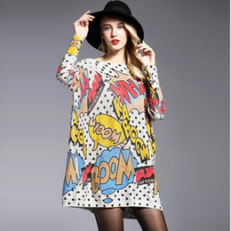 Wholesale Womens Baggy Sweaters - Womens Baggy Comic Print Knit Pullover Sweater Jumper Knitwear Batwing Sleeve Print Slash Neck Knitted Winter Women clothing