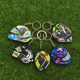 Wholesale Helmets For Moto - 1 pcs lot VR 46 The Doctor Valen Rossi Motorcycle Helmet Rubber Keychains NO.46 llaveros Keyrings keychain For Moto GP Fans gift