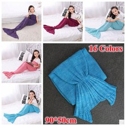 Wholesale Mermaids Child - 16 Colors 90*50cm Mermaid Blankets Mermaid Tail Knitted Blanket Kids Handmade Crochet Blanket Throw Bed Wrap Sleeping Bag CCA7356 20pcs