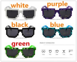 Wholesale Trendy Glasses For Girls - Vintage Mosaic Kids SunGlasses For Kids And Adults Part Novelty Unisex Pixel Sunglasses Trendy Minecraft Glasses show props Children Gift