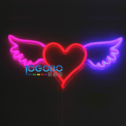 Wholesale Beer Wall Light - New 24x11inch Red Heart with Angel Wings 12V Real Neon Light Sign Home Beer Bar Pub Recreation Room Game Window Garage Wall Sign