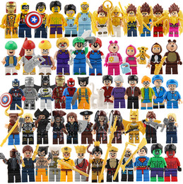 Wholesale Batman Superman Toy - Spiderman Ironman Superman Building Blocks Altman Super Heroes Minifig Batman Rainbow Mini Figure Toys Smurfs witch Caribbean Pirates Jack