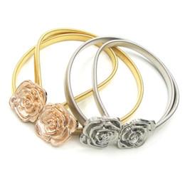 Wholesale Elastic Rose Belt - Elastic Rose Flowers Waistband Belt Gold Silver Wedding Dresses Sash Bridal Belts Fashionable Belt For Bridal Party Evening Prom Dress
