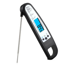 Wholesale household temperature - Digital Cooking Thermometer Electronic Instant Read Thermometer with Blue Backlit LCD Display,Foldable for Kitchen Grill,,BBQ,Milk,