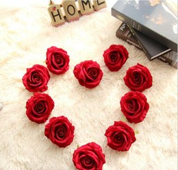 Wholesale Holiday Flower Heads - Velvet rose head Artificial dia.10cm 6 colors DIY bridal bouquets silk flowers for wedding party centerpieces home holiday decoration 03338