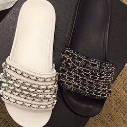 Wholesale Cheap Plus Size Sandals - Cheap Price Plus Size 35-42 Black White Genuine Leather Slippers Women Chains Flats Summer Beach Shoes Women Luxury Brand Sandals 2017