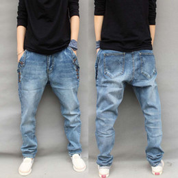 Wholesale Winter Denim Pants For Boys - Wholesale-New Fashion Cotton Brand Jeans Plus Size S-7XL Autumn Winter Mens Jeans Hip Hop Harem Loose Denim Pants For Boys Buttons Stretch