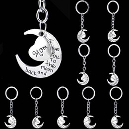 Wholesale Keychain Love - Silver Family Member Grandma Sister Dad Mom Keychain I Love You To The Moon and Back Heart Key Chains Keys Chain Keyring for Women 170706