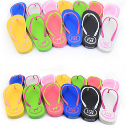 Wholesale Wholesale Green White Straws - Love Pink Flip flops Vs Pink women girls Sandals Candy color Letter Beach Slippers brand Shoes Pink Letter Beach Shoes 7 color 35-39