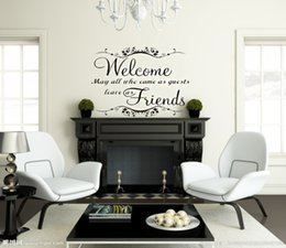 Wholesale Welcome Home Decorations - Classical welcome friends warm words wall stickers waterproofing home decor home decoration wall stickers vinyl wall stickers
