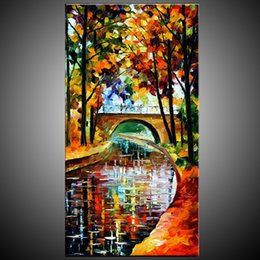 Wholesale Textured Artwork - KG Handmade Acrylic Painting,Canvas Art Knife Paintings River Landscape Artwork For Home Decor Colorful Thick Textured Europ Style