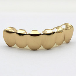 Wholesale Real Gold Cheap Prices - Fashion Jewelry Cheap Price Real 18K Gold Plated HIPHOP Teeth Grillz TOP or BOTTOM Single Grill Cap