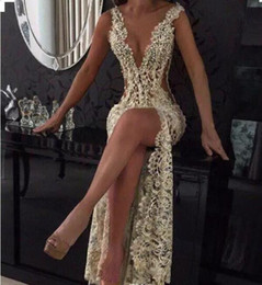 Wholesale Tight T Shirt Dresses - 2018 Champagne Sexy Plunging V Neck Tight High Split Evening Dresses Full Lace Side Cutaway Backless Prom Dresses With Beading BA2786