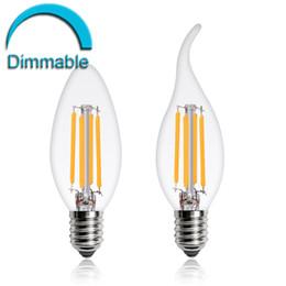 Wholesale Dimmable Candle Led E26 - Dimmable LED Filament Candle Light Bulb 2W 4W 6W E27 E14 E12 Led Bulbs Light High Bright Clear Glass C35 Led Lamp