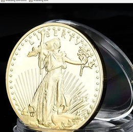 Wholesale Commemorative Coin Gift - 5pcs lot,The free goddess eagle gold coin collection American COINS commemorative medallion gift