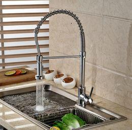 Wholesale Polished Brass Kitchen Sprayer - Wholesale- Chrome Brass Single Handle Spring Kitchen Mixer Faucet Deck Mount Dual Sprayer Nozzle Functions