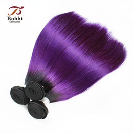Wholesale Purple Indian Hair Extensions - Dark Root Purple Hair Colored Ombre Peruvian Virgin Hair Weave Silky Straight 3 Bundles 12 14 16 18 inch Remy Human Hair Extensions