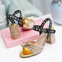Wholesale Name Brand Sandals - 2017 New Designer Name Brand Women Middle Chunky Heel Sandals Gold Silver Fluorescent skin With Bow-tie Lady Party Shoes Summer Ankle Strap