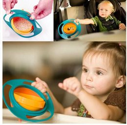 Wholesale Baby Spill Rotating Bowl - Creative Baby Gyro Feeding Toy Bowl 360 Dishes Non Spill Universal 360 Rotate Technology Funny Gif Spill-Proof Gyro Feeding Bowl