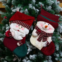 Wholesale Home Decoration Accessories Fashion - 6Pcs Vintage Wine Red Christmas Gift Stocking For Xmas Tree Christmas Decorations For Home Fashion New Year Home Party Accessories