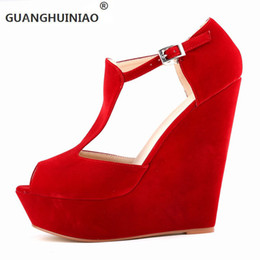 Wholesale Boots Waterproof For Men - wholesale 2017Large base wedge sandals women's high-heeled waterproof Roman fish mouth sandals suede Ankle Boots For Women