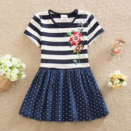 Wholesale Girl Neat Dress - Wholesale- Neat Retail 2016 short sleeved Baby girl clothes princess summer dress girl party dress tutu dresses Floral kids clothes SH5908