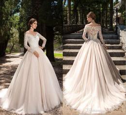 Wholesale T Back Chiffon Bridal Dress - 2017 New Vestios De Novia Elegant Wedding Dresses Lace Long Sleeves V-neck Button Back Elegant New Garden Bridal Gowns