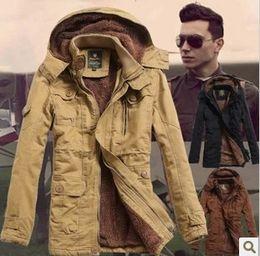 Wholesale Hooded Frock Coat - Wholesale- New 2014 Winter Men'S Cashmere Frock Coat Long Slim parka men winter Hooded Cotton Padded winter jacket men Free Shipping H1284