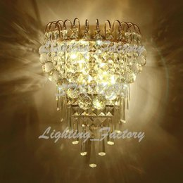 Wholesale Golden Crystal Wall Lamp - Golden Stainless Steel Modern Led Crystal Wall Lamp With 2 Lights For Home Crystal Wall Sconce Arandela Aplik WXT-288
