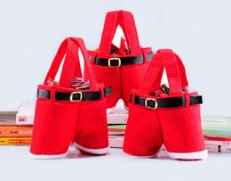 Рождественские угощения онлайн-10шт рождественские конфеты сумка Санта-брюки подарок и лечить сумки с ручкой портативные конфеты Подарочные корзины Подарочная упаковка для свадьбы (21 * 14,5 * 6 см)