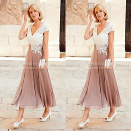 Wholesale simple formal ankle length dress - 2017 A Line Mother Dresses V Neck Ankle Length Party Dresses For Mother Formal Wear with Cap Sleeve Mother of the Bride Dress